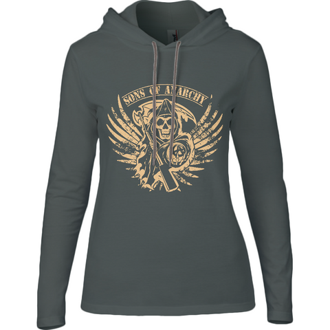 Sons of Anarchy - Anvil Ladies Long Sleeve Hooded T-Shirt - Movie TV Show Merch