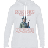 Stranger Things - Mornings are for - Anvil Long Sleeve Hooded T-Shirt - Movie TV Show Merch