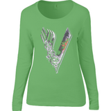 Vikings Tv Show - Anvil Ladies Sheer Long Sleeve Scoop Neck T-Shirt - Movie TV Show Merch
