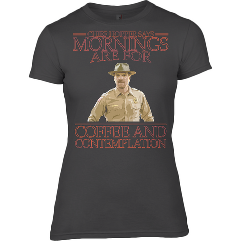 Stranger Things - Chief Hopper Monday Mornings Anvil Ladies Fitted T-Shirt - Movie TV Show Merch