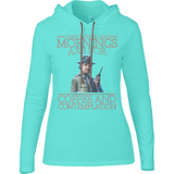 Stranger Things - Mornings are for - Anvil Ladies Long Sleeve Hooded T-Shirt - Movie TV Show Merch