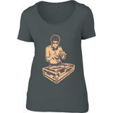 Bruce Lee Gold - Anvil Ladies Sheer Scoop Neck T-Shirt - Movie TV Show Merch