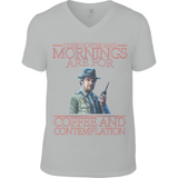 Stranger Things - Mornings are for - Anvil V Neck T-Shirt - Movie TV Show Merch