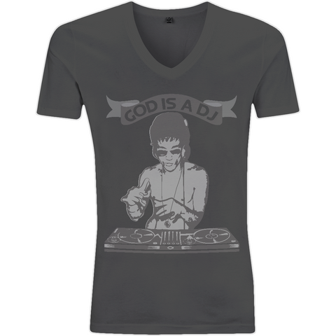 Bruce Lee God is a DJ - V-Neck Men's T-Shirt - Movie TV Show Merch