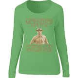 Stranger Things - Chief Hopper Monday Mornings Anvil Ladies Sheer Long Sleeve Scoop Neck T-Shirt - Movie TV Show Merch