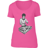 Bruce Lee DJ - Anvil Ladies Sheer Scoop Neck T-Shirt - Movie TV Show Merch