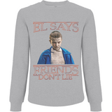 Stranger Things El says Friends Don't Lie - EP65 Men's Raglan Sweatshirt - Movie TV Show Merch