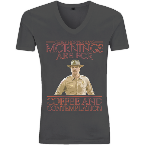 Stranger Things - Chief Hopper Monday Mornings EP03V V-Neck Men's T-Shirt - Movie TV Show Merch