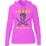The Goonies Never Say Die T-Shirt - Anvil Ladies Long Sleeve Hooded T-Shirt - Movie TV Show Merch