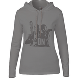 The Walking Dead Rick vs Negan - Anvil Ladies Fashion Basic Long Sleeve Hooded T-Shirt - Movie TV Show Merch