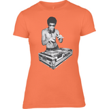 Bruce Lee DJ - Anvil Ladies Fashion Fitted T-Shirt - Movie TV Show Merch