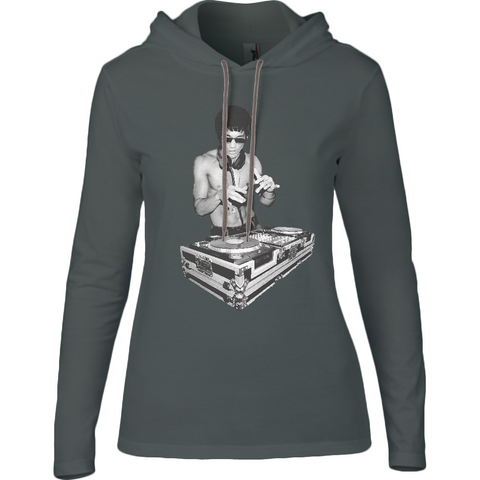 Bruce Lee DJ - Anvil Ladies Fashion Long Sleeve Hooded T-Shirt - Movie TV Show Merch