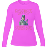 Stranger Things - Mornings are for - Anvil Ladies Long Sleeve Fitted T-Shirt - Movie TV Show Merch