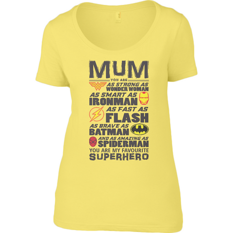 Superhero Mum - Anvil Ladies Sheer Scoop Neck T-Shirt - Movie TV Show Merch
