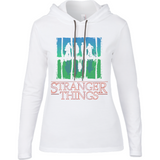 Stranger Things Upside Down - Anvil Ladies Long Sleeve Hooded T-Shirt - Movie TV Show Merch