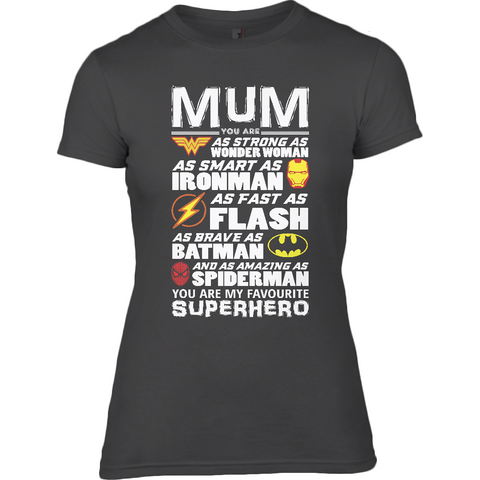 Superhero Mum Light - Anvil Ladies Fitted T-Shirt - Movie TV Show Merch
