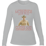 Stranger Things - Chief Hopper Monday Mornings Anvil Ladies Long Sleeve Fitted T-Shirt - Movie TV Show Merch