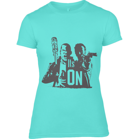 The Walking Dead Rick vs Negan - Anvil Ladies Fashion Basic Fitted T-Shirt - Movie TV Show Merch