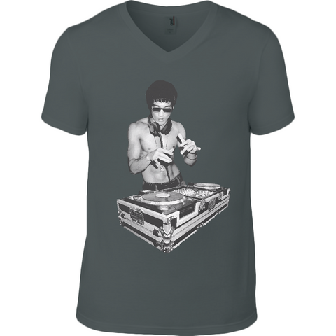 Bruce Lee DJ - Anvil V Neck T-Shirt - Movie TV Show Merch