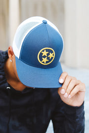 Two-Tone Navy/White + Gold TriStar Classic Trucker