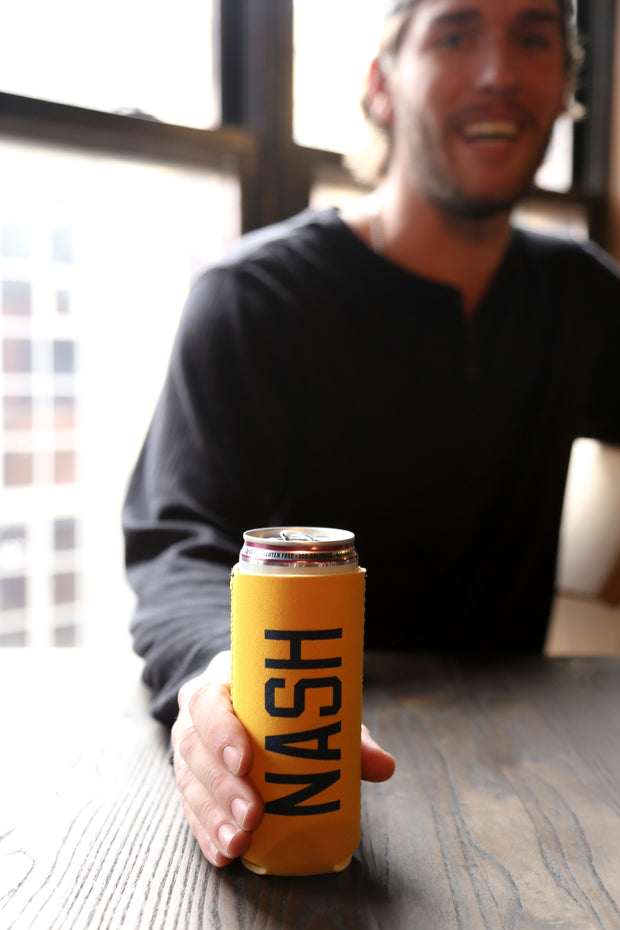 NASH Slim Can Cooler [Gold/Navy]