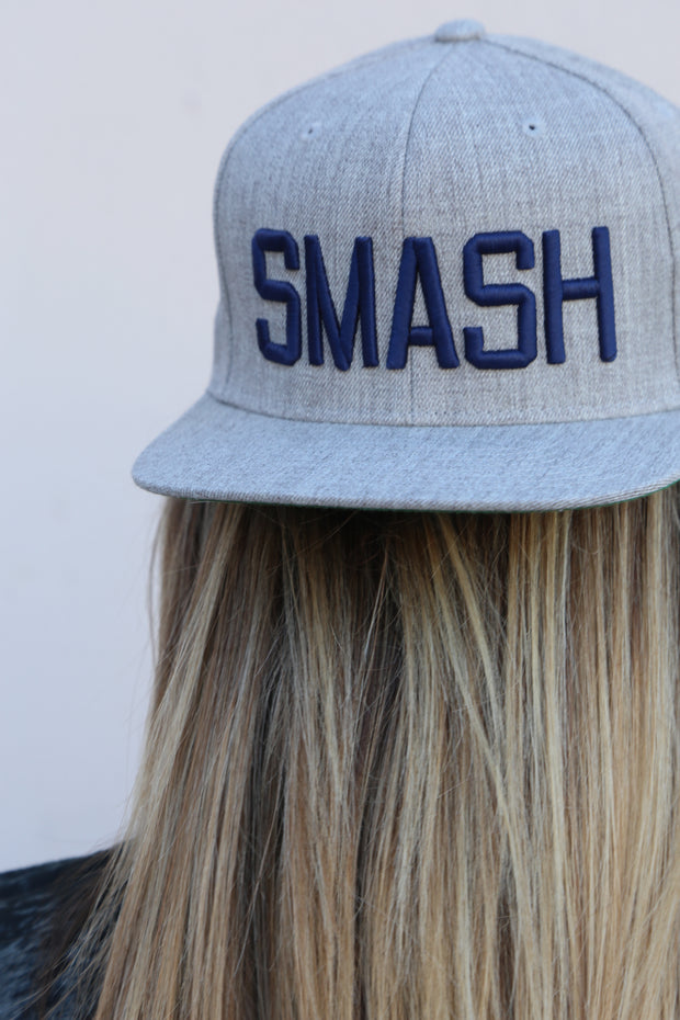 Solid Heather/Navy SMASH Flat Bill
