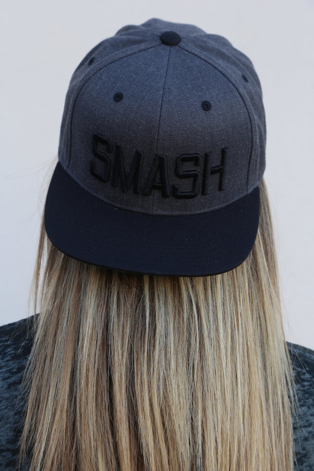 Two-Tone Dark Heather/Black SMASH Flat Bill