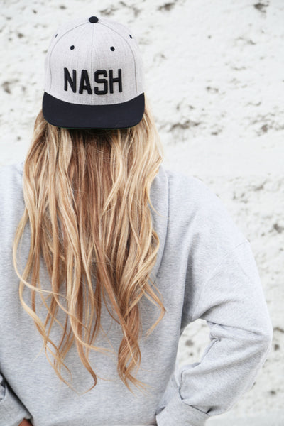 Grey/Black NASH Classic Flat Bill - The Nash Collection Hat