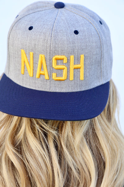Heather/Navy+Gold NASH Flat Bill