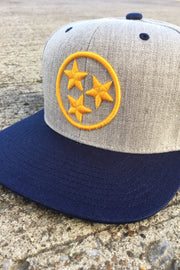 Two-Tone Heather/Navy/Gold TriStar Classic Flat Bill