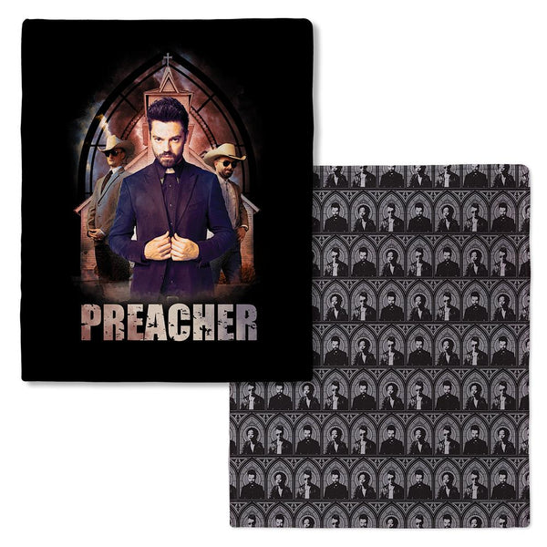 Preacher Jesse Custer in Front of Church Fleece Throw Blanket
