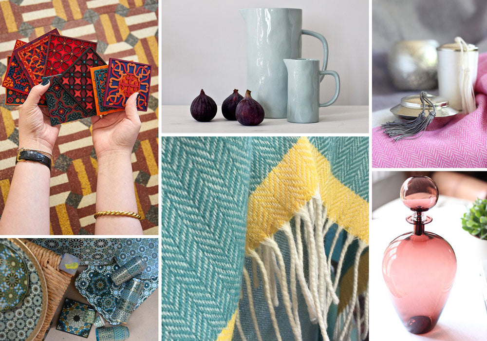 A collage of photos showing our range of housewarming gifts at Pomegranate Living
