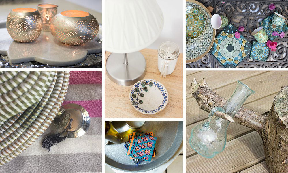 Collage of images showing products that are perfect as gifts at Pomegranate Living