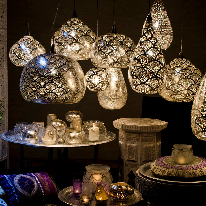 An assortment of Zenza pendant lights