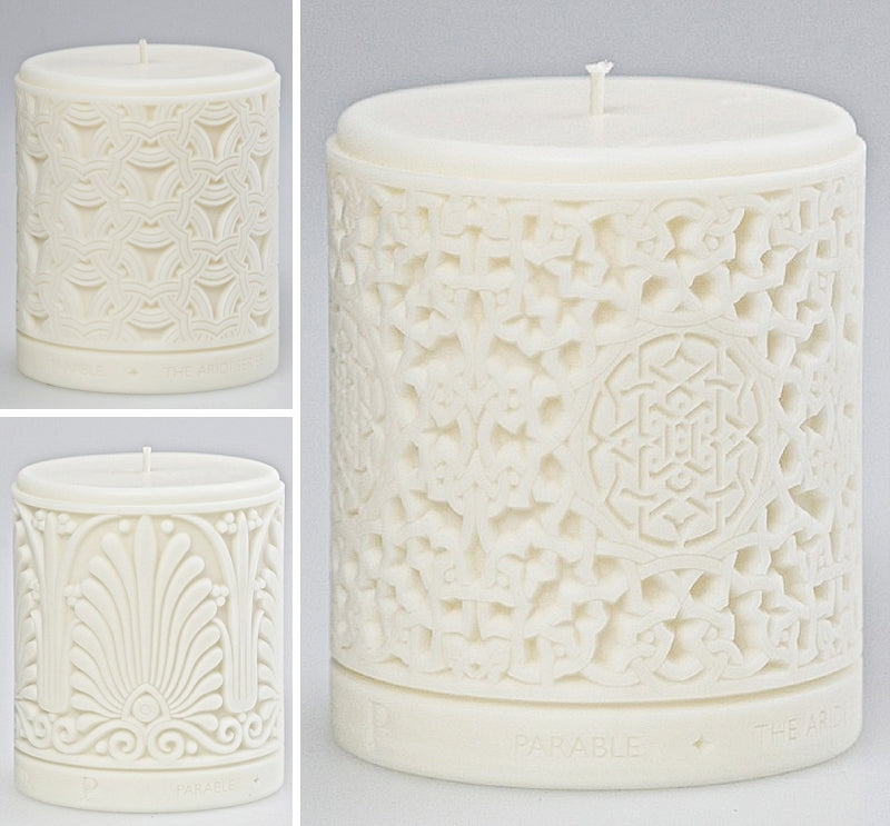 Aridi Series Candles in White Plain Finish by Parable Designs