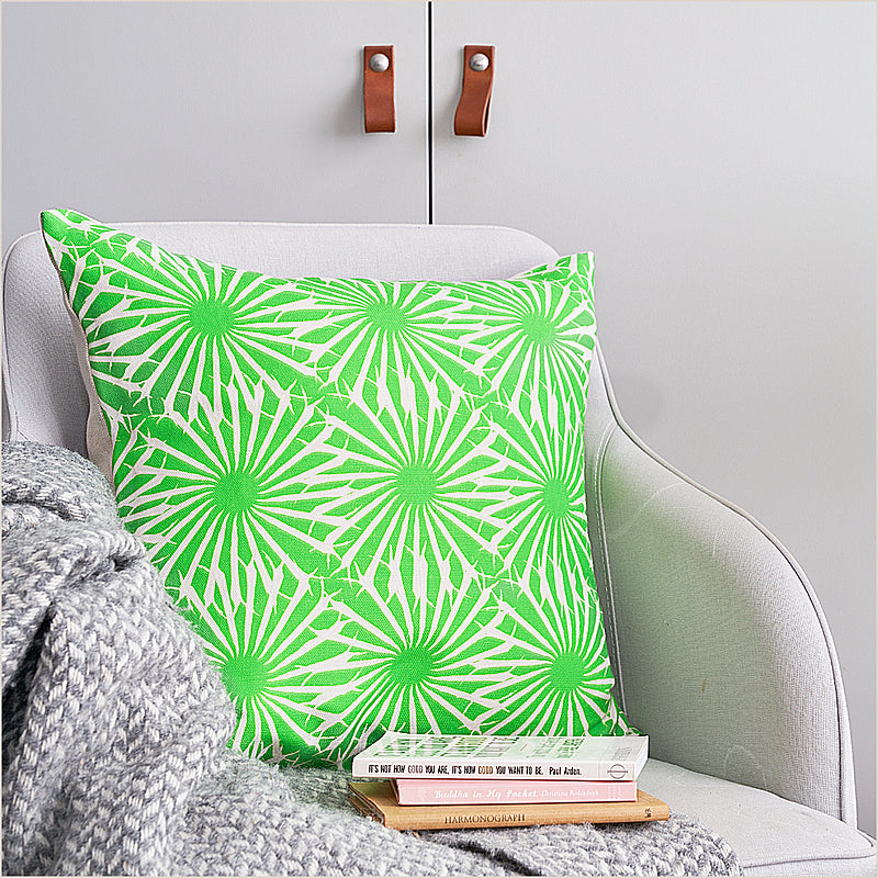 Anna Jacobs Beak Street in Grass Square Cushion at Pomegranate Living