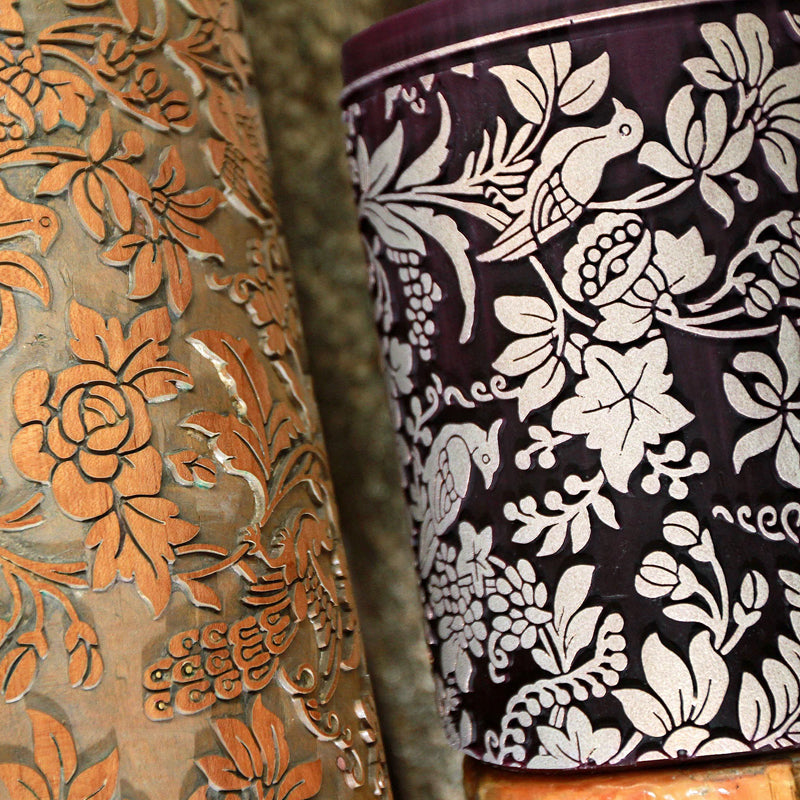 Detail of the Designs on Wallpaper Rollers at Parable Designs