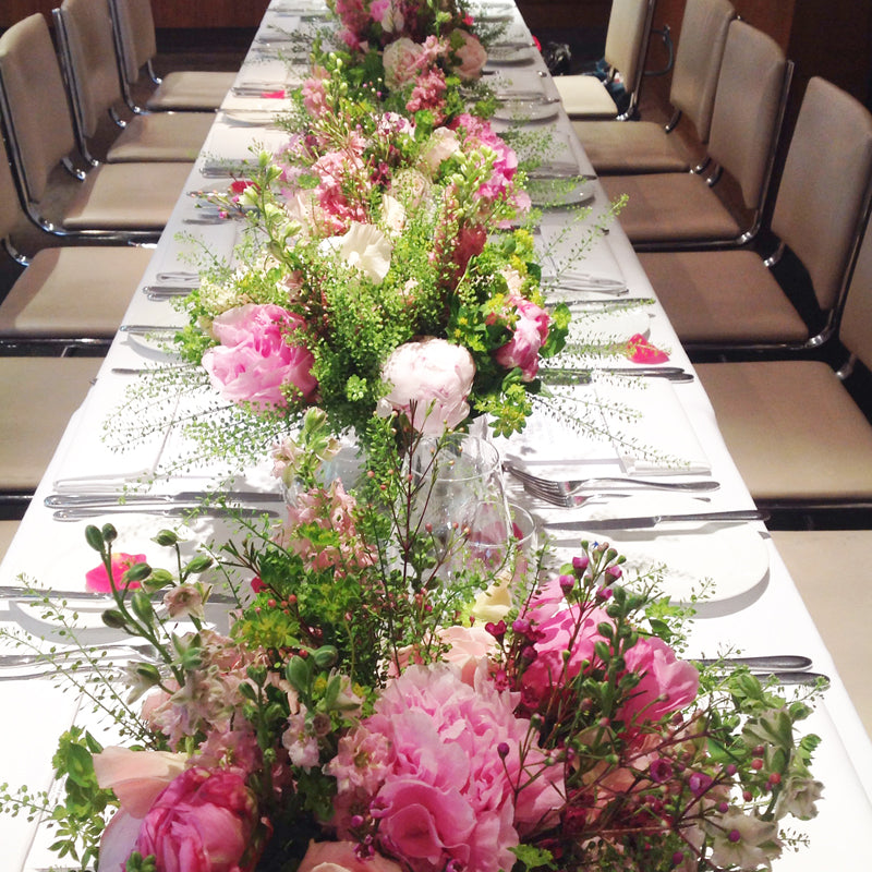 Long Table Setting Floral Displays by The Velvet Daisy