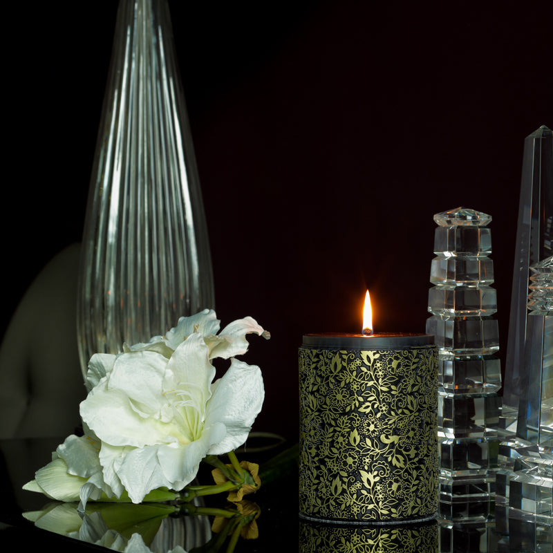 Black and gold candle by Parable Designs
