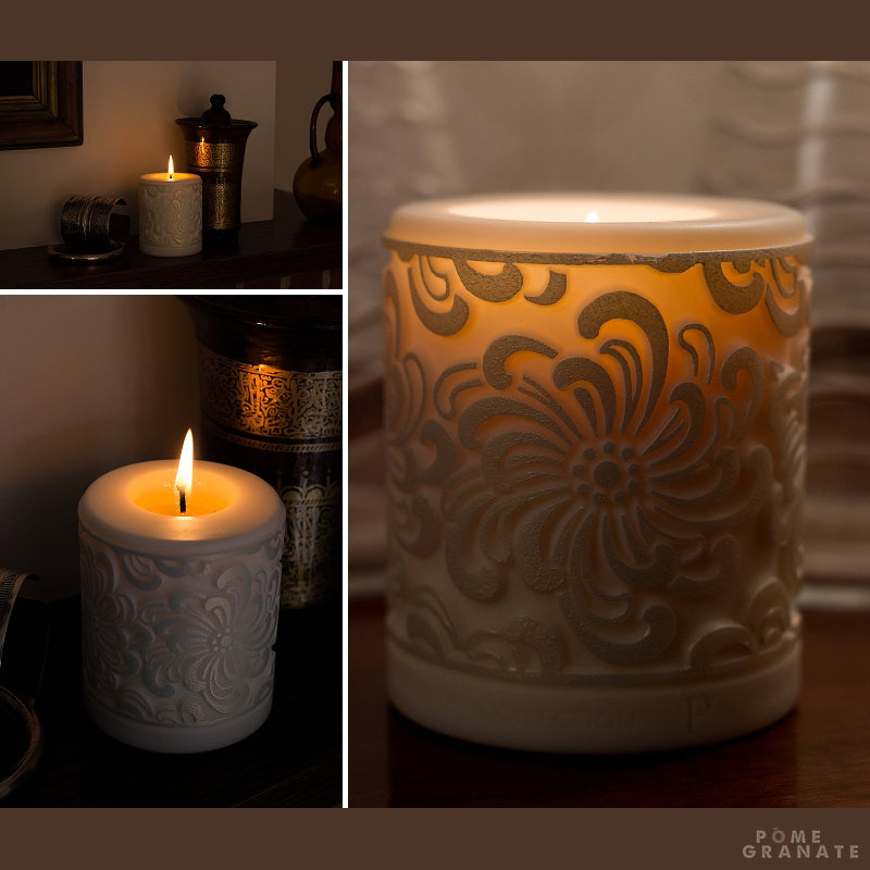 A Marazion candle by Parable Designs lit beautifully
