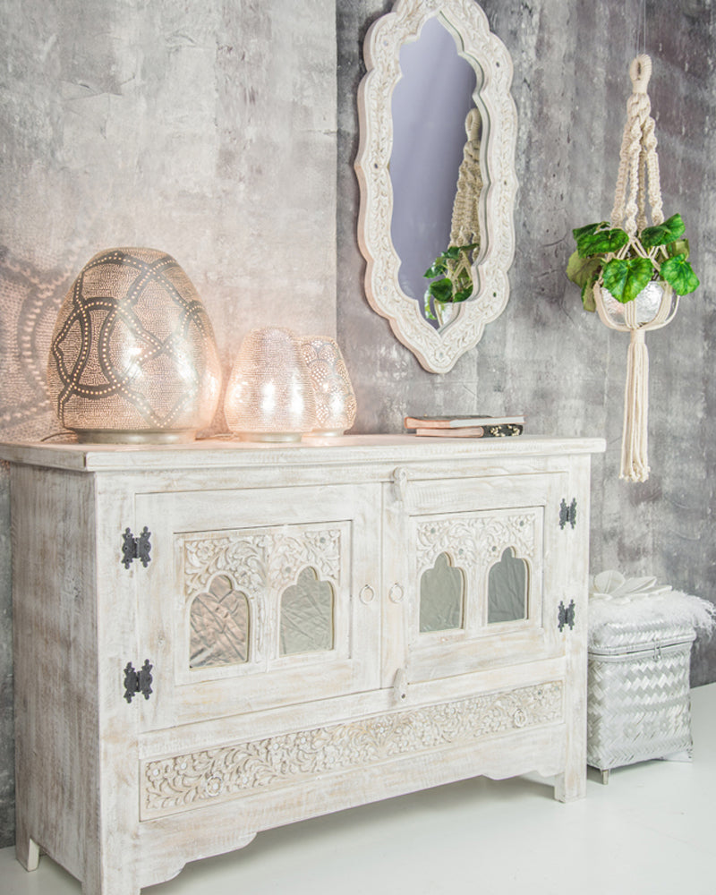 Zenza also make furniture as shown here with this whitewashed sideboard and mirror