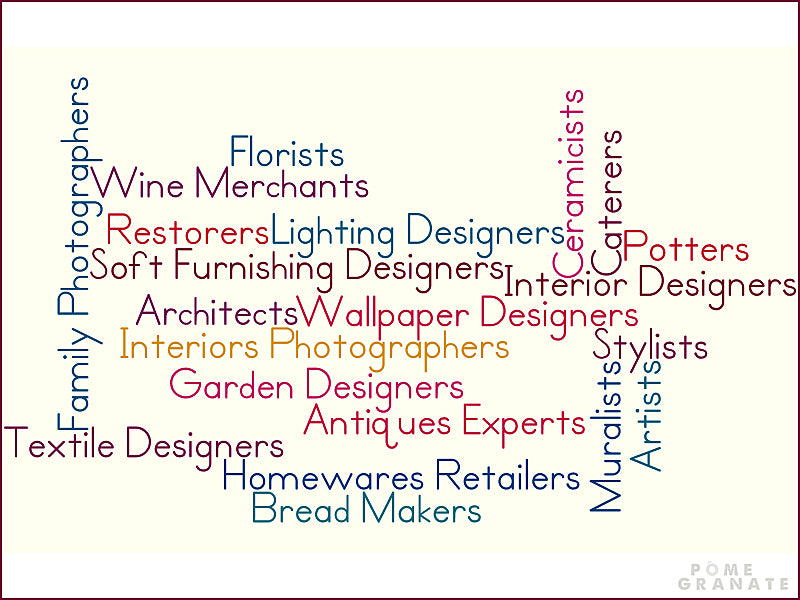 Word Cloud of The Exhibitors taking part in The DecorCafe Festival