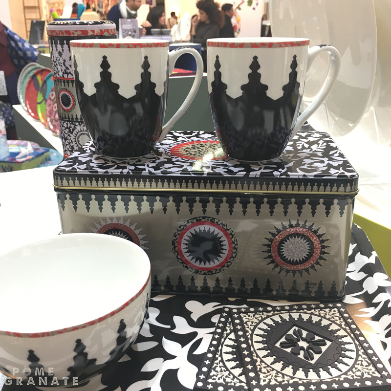 Mosaic Black & White Mug Set by Images d'Orient at Maison & Objet
