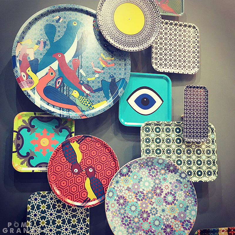 Wall of Colourful Trays on the Images d'Orient stand at Maison & Objet