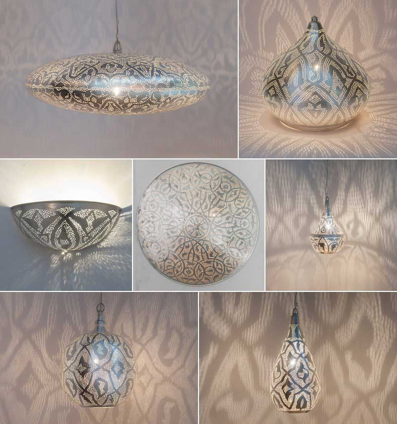 Zenza lamps with filigrain pattern