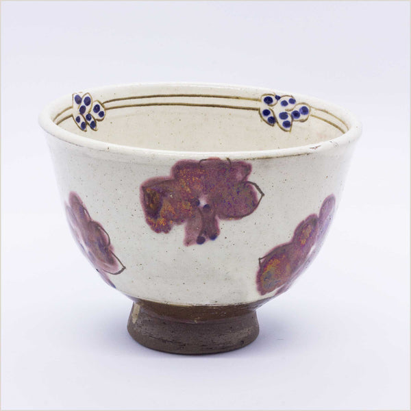 Fayoum Pottery School Ceramic Bowl with Red Flowers - Pomegranate Living
