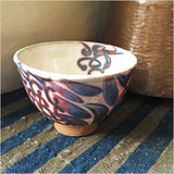 Fayoum Pottery School Bowl with Blue Abstract Design - Pomegranate Living