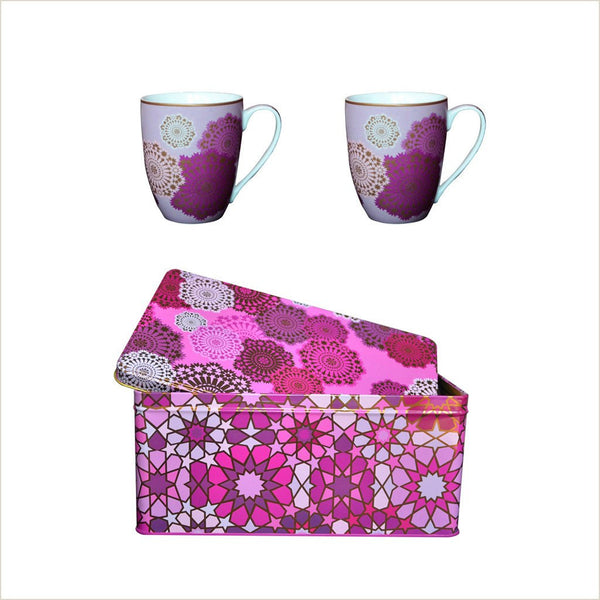 Images d'Orient Mosaic Parme Set of 2 Mugs & Tin - Pomegranate Living