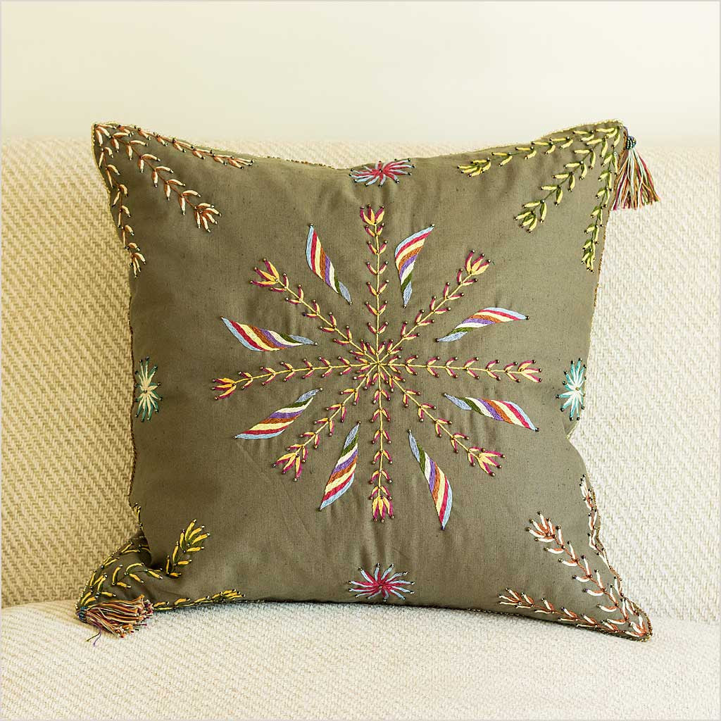 Olive Cushion with Beaded Star Motif