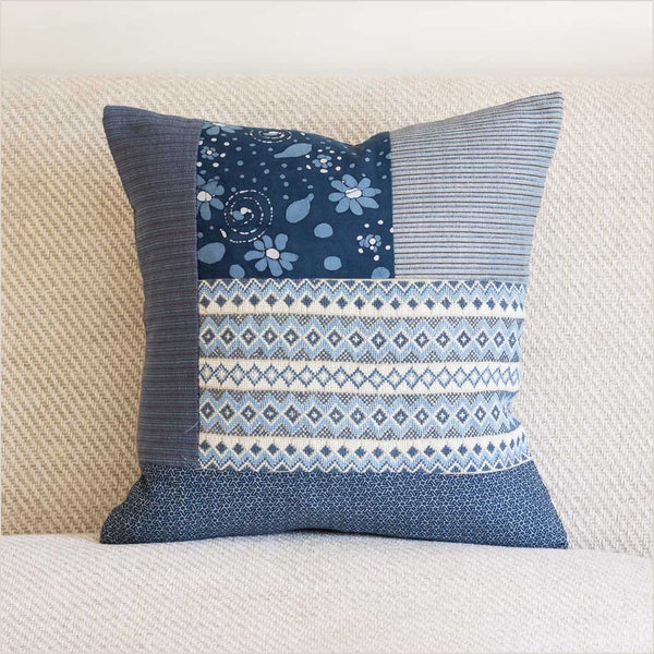 Markaz Patchwork Blue Cushion with Diamonds